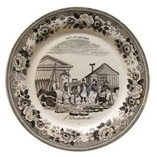 Antique French Architect Motif Transferware Plate For Sale