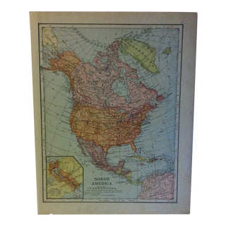 """Vintage Color Map on Paper, """"North America"""", Circa 1930 For Sale"""