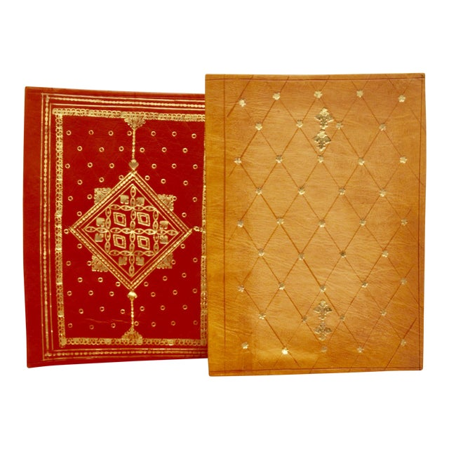 Gold Stamped Moroccan Leather Book Covers - A Pair - Image 1 of 11