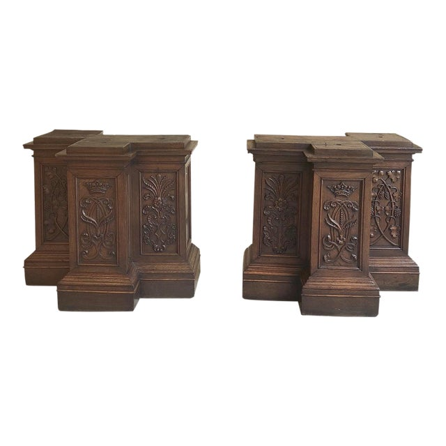 Pair of 19th Century French Architectural Hand Carved Column Pediments For Sale