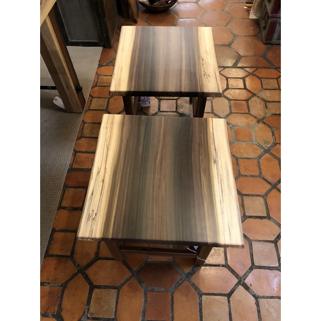 Brown Artisan Made Amish Custom Poplar End Tables -A Pair For Sale - Image 8 of 11