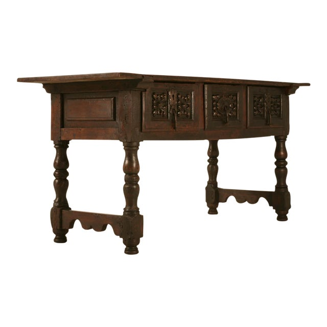 Spanish Console/Sofa Table with Three Deep Drawers For Sale