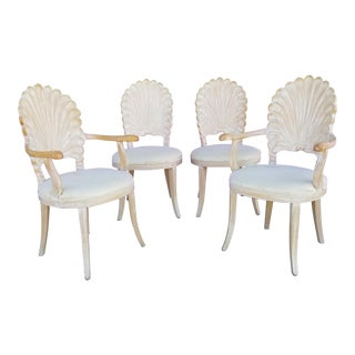 1970s Vintage Italian Shell Back Carved Wood Dining Chairs- Set of 4 For Sale