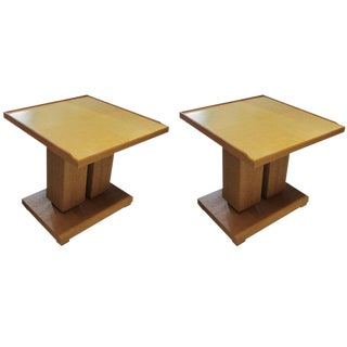 Pair of Bespoke Cerused Oak and Parchment Tables in the Dupre Lafon Manner For Sale