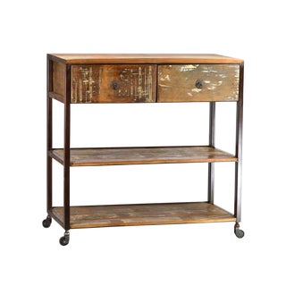 Reclaimed Wood and Iron Console For Sale