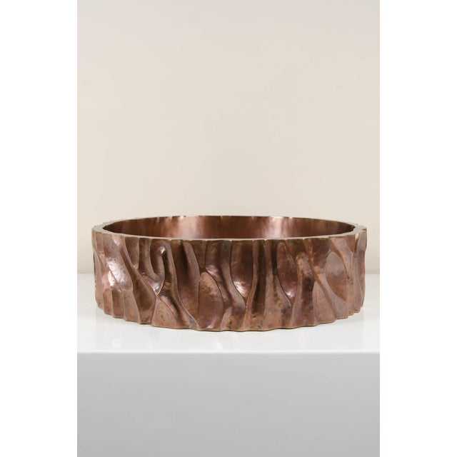 Low tree trunk cachepot Antique copper Hand repoussé Limited edition. Repoussé is the traditional art of hand-hammering...