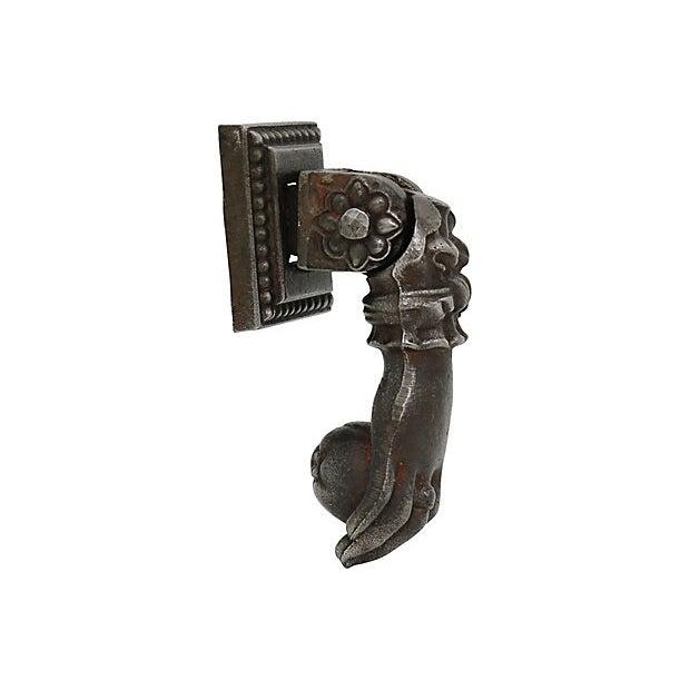 Bronze Antique Bronze Paris Hand Door Knocker For Sale - Image 7 of 7