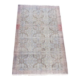 """Vintage Muted Floral Turkish Overdyed Wool Rug - 4' x 6'10"""""""