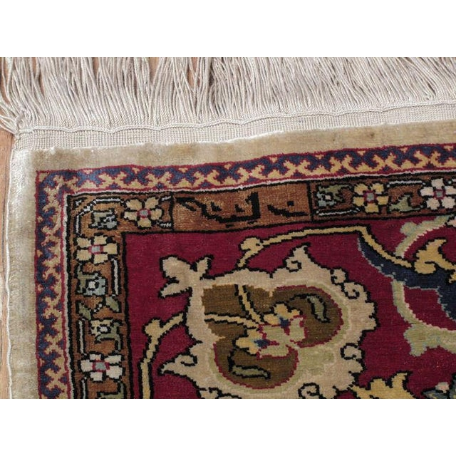Textile Silk Hereke Rug For Sale - Image 7 of 10