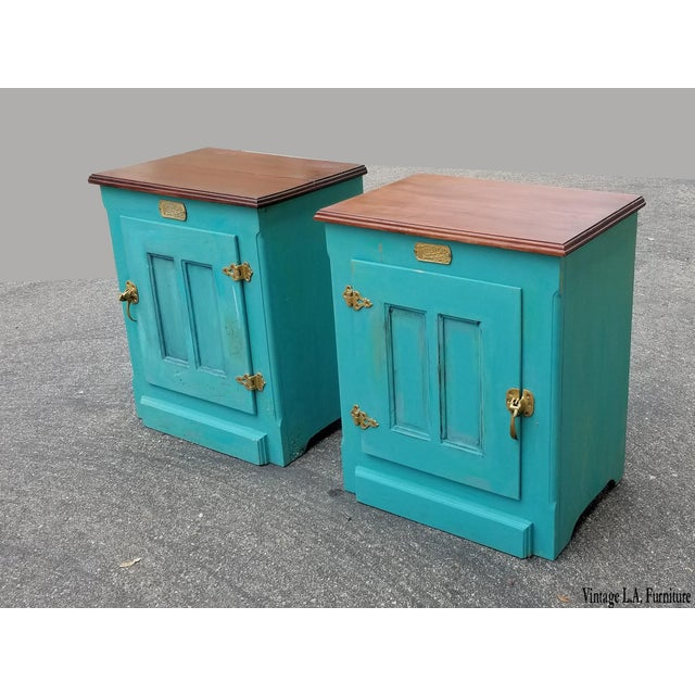 1990s French Country White Clad Turquoise Nightstands - a Pair For Sale - Image 12 of 12