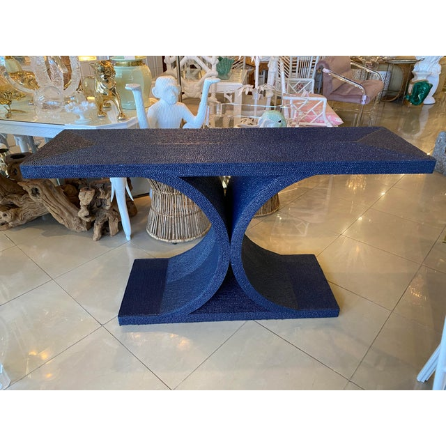 Hollywood Regency Vintage Karl Springer Style Navy Blue Lacquered Rope Console Table For Sale - Image 3 of 13