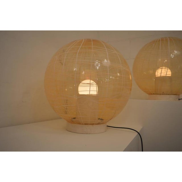 Mid-Century Modern Pair of Large Murano Floor Lamps by La Murina on a Travertine Base For Sale - Image 3 of 10