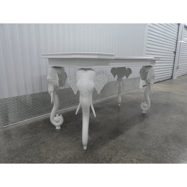 Hollywood Regency 1970s Hollywood Regency Gampel Stoll White Lacquer Elephant Writing Desk For Sale - Image 3 of 13