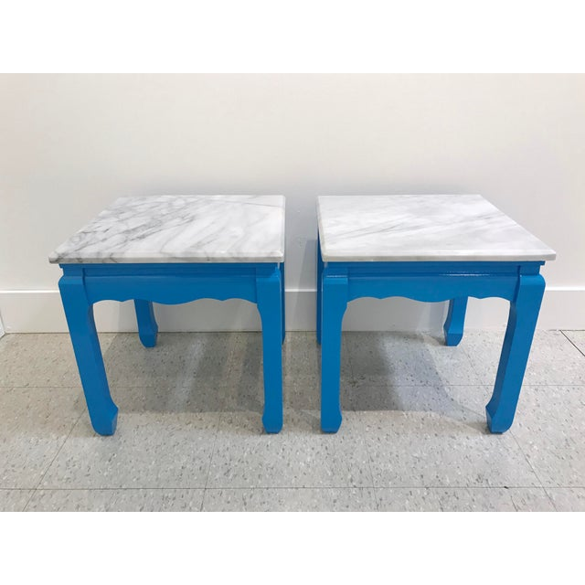 Blue 20th Century Ming Blue Chow Leg Marble Side Tables - a Pair For Sale - Image 8 of 8