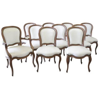 Early 20th Century Louis XV Style Dining Chairs in White Leather - Set of 10 For Sale