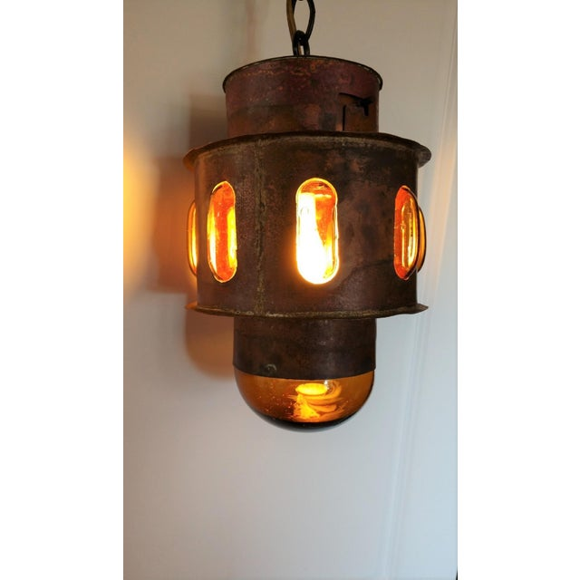 Rustic Mid Century Copper and Imprisoned Amber Glass Lantern For Sale - Image 3 of 9