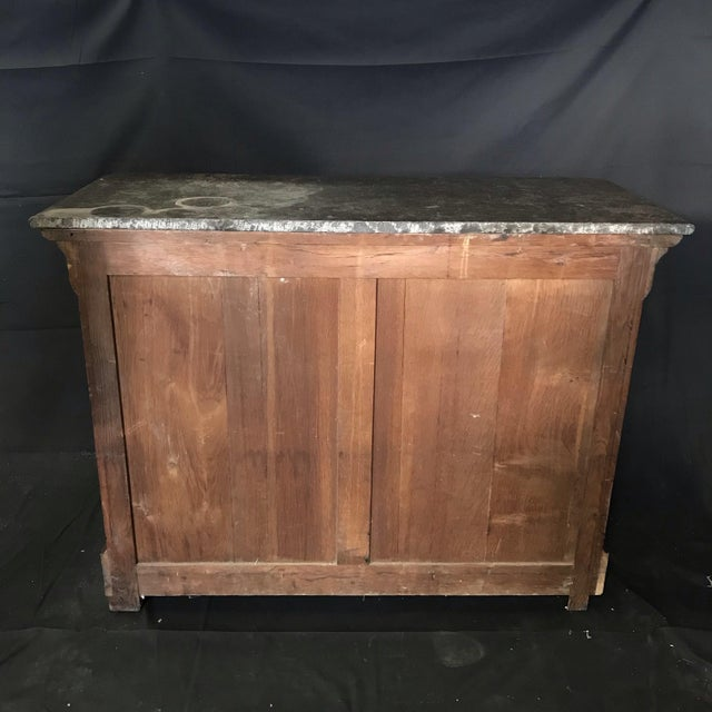 French Empire Marble-Top Burled Walnut Chest of Drawers For Sale - Image 9 of 11