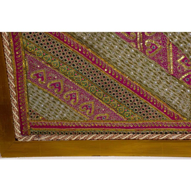 Large hand embroidered and quilted textile from North India. Mughal style silk and metal threaded tapestry framed from...