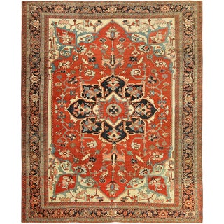 Room Size Antique Serapi Persian Rug - 9′ × 14′5″ For Sale