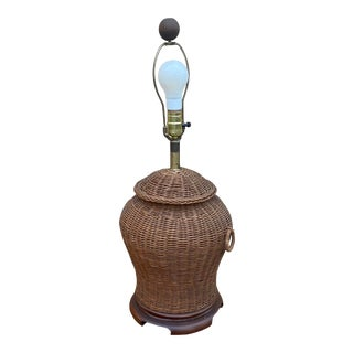 Vintage Chinoiserie Brown Ginger Wicker Lamp For Sale