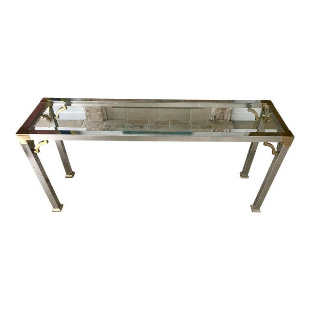 Mid Century Chrome and Glass Console / Sofa Table - Image 1 of 11