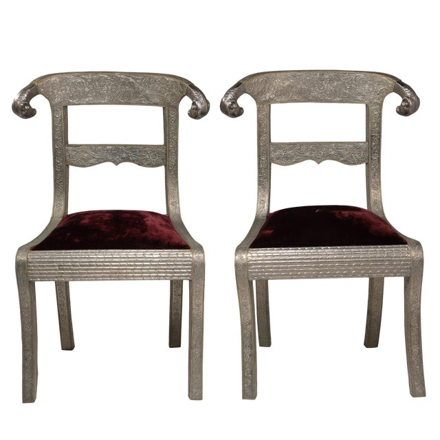 Glam Pair of Anglo Indian Regency Style Rams Head Side Chairs For Sale