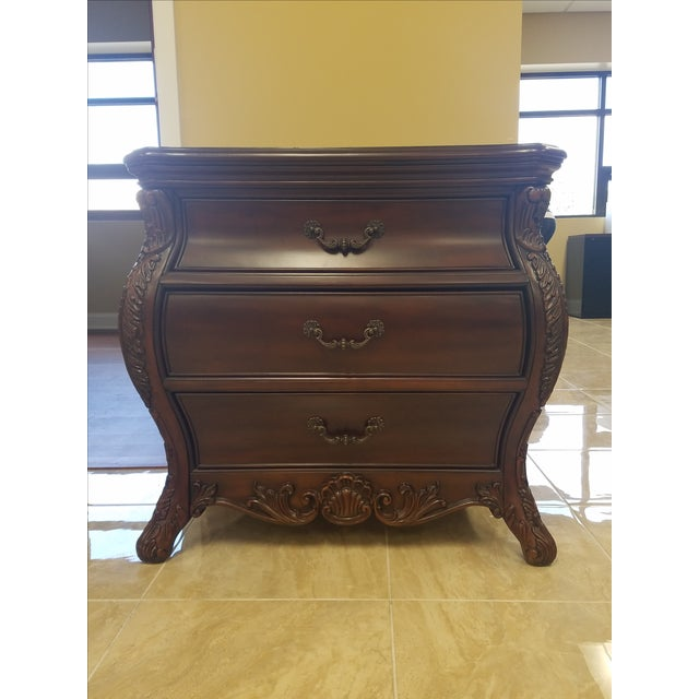 Traditional Victorian King Post Bed Nightstand For Sale - Image 3 of 8