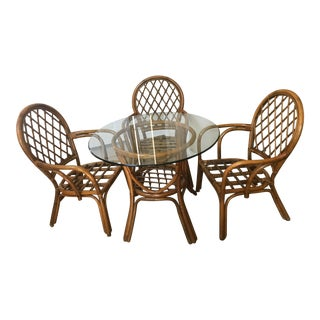 1970s Boho Chic Bamboo and Rattan Dining Set - 4 Pieces For Sale
