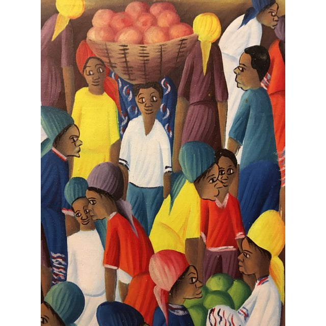 Canvas Oil on Canvas Painting of a Haitian Market by Andre Guervil For Sale - Image 7 of 10
