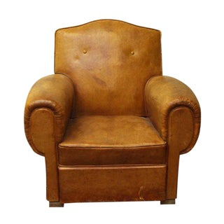 Single Brown French Studded Back Club Chair For Sale
