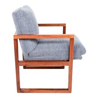 Mid Century Modern Walnut Framed Armchair in Grey Milo Baughman For Sale