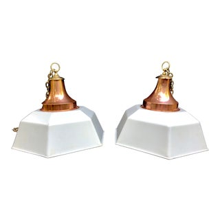 20th Century Industrial Hexagonal Copper & Brass Pendant Lights - a Pair