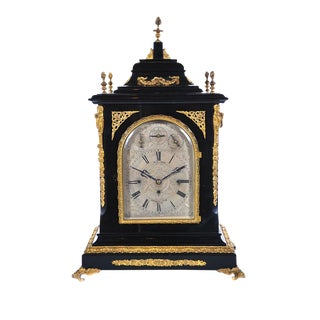 19th C. Reid & Sons Triple Fusee Ebony & Gilt Mantel Clock For Sale