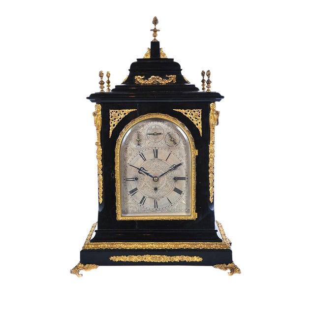 19th C. Reid & Sons Triple Fusee Ebony & Gilt Mantel Clock For Sale
