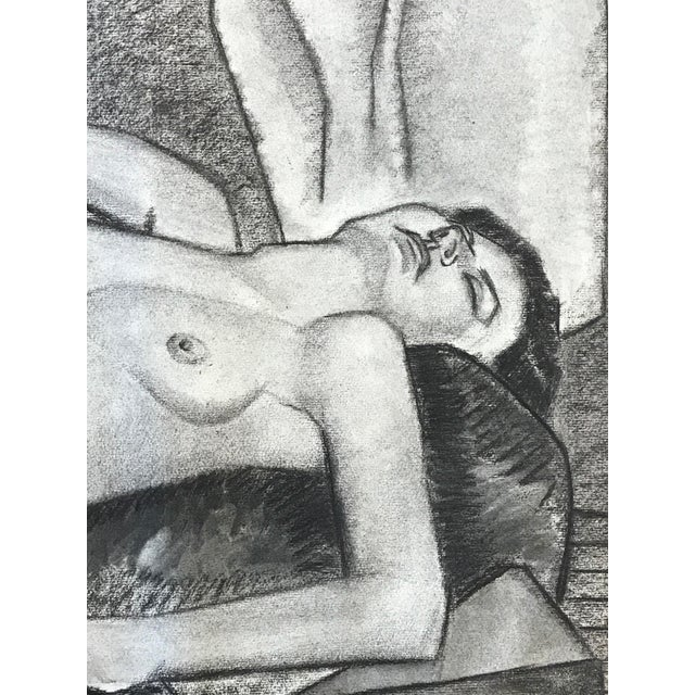 Art Nouveau 1937 Charcoal Drawing Female Nude Bay Area Artist For Sale - Image 3 of 7