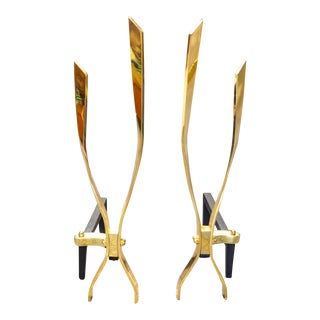 1970's Modernist Brass Andirons - a Pair For Sale