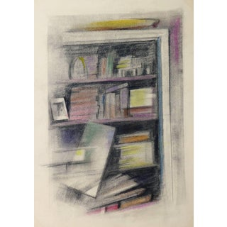Pollasson, Softly-Colored French Oil Pastel - Bookcase Abstraction For Sale