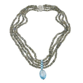 14k White Gold Clasp 4 Strand Labradorite Bead Blue Zircon Drop Necklace For Sale