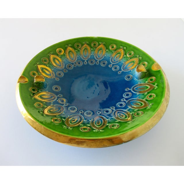 Vintage: 1950s-60s; Mid-Century, Aldo Londi for Bitossi ceramic royal/ultramarine blue and bright green glazed, with gilt...