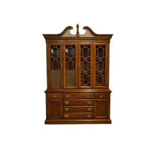 "American Drew Mahogany Traditional Chippendale Style 62"" Buffet W. Illuminated Display China Cabinet 28-821 For Sale"