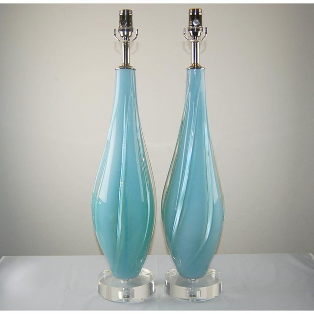 Vintage matched pair In magical SKY BLUE, with an intensity and depth courtesy of the Opaline. Applied glass wings...
