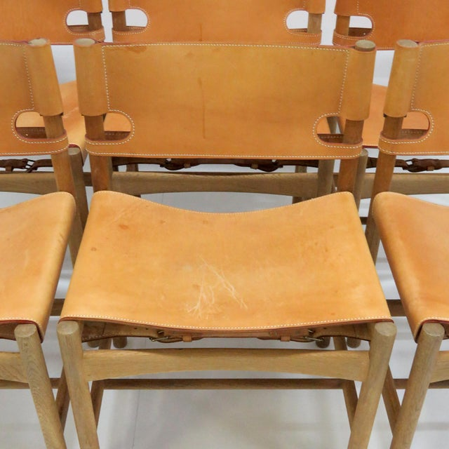 "1960s Vintage Børge Mogensen ""Hunting"" Chairs- Set of 6 For Sale - Image 9 of 11"