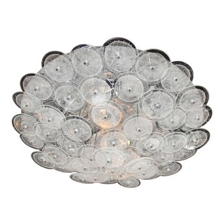 Mid-Century Modern Flush Mount Chandelier with Handblown Murano Glass Discs For Sale