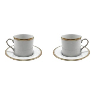 Fitz & Floyd White & Gold Porcelain Demitasse Cups & Saucers - A Pair For Sale