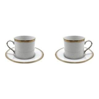 Fitz & Floyd White & Gold Porcelain Demitasse Cups & Saucers - Set of 2 For Sale