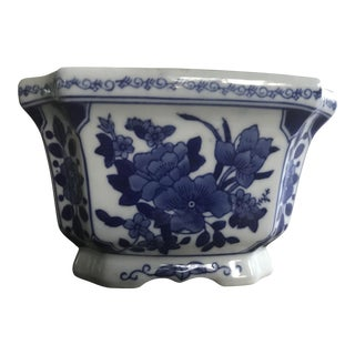 Blue & White Ceramic Flower Pot with Hand Painted Asian Flowers
