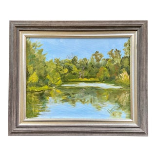 American Painting of Springtime Pond For Sale