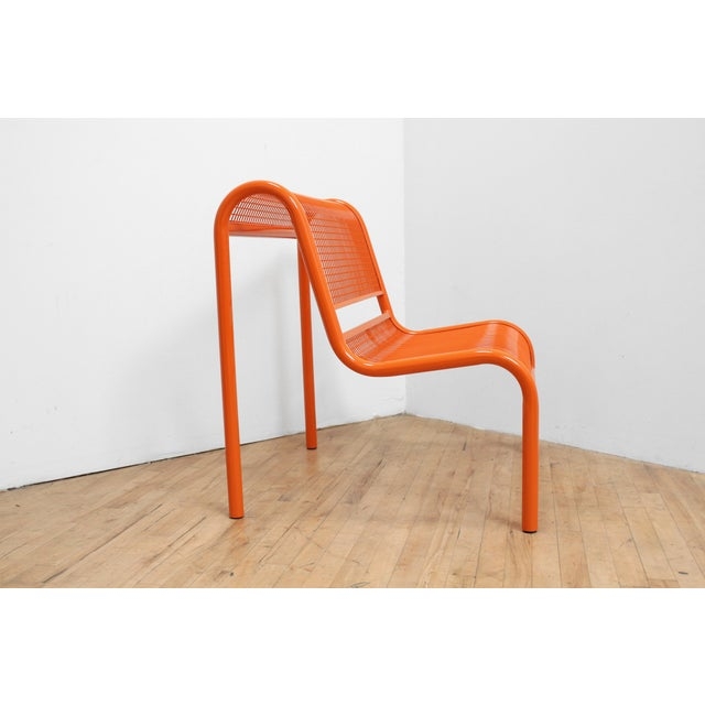Memphis 80s Ergonomic Steel Bench - Postmodern Patio Chair For Sale - Image 3 of 7