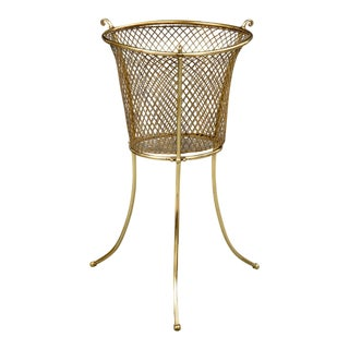 Antique Brass Waste Paper Basket or Jardiniere For Sale