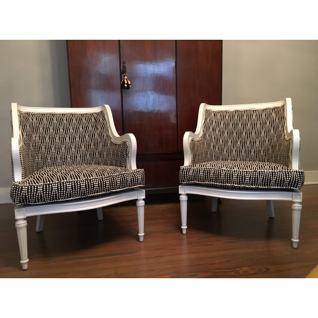 Louis XVI Lacquered Black and White Chairs - Pair - Image 2 of 6